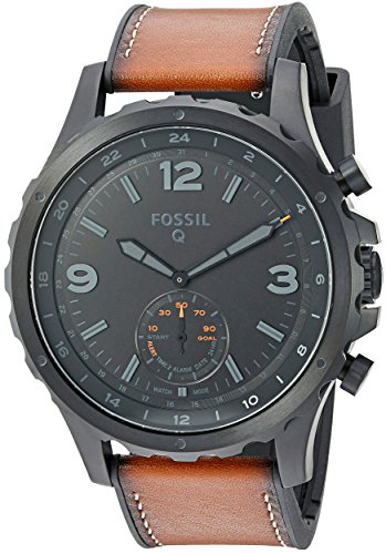 フォッシル 腕時計 メンズ Fossil Q Men's Nate Stainless Steel and Leather Hybrid Smartwatch, Color: Black, Brown (Model: FTW1114)フォッシル 腕時計 メンズ