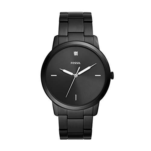 フォッシル 腕時計 メンズ Fossil Men Minimalist Carbon Series Quartz Stainless Steel Diamond Accent Dress Watch, Color: Black (Model: FS5455)フォッシル 腕時計 メンズ