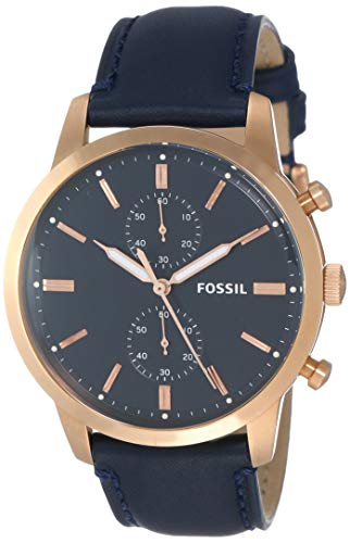 フォッシル 腕時計 メンズ Fossil Men's Townsman Stainless Steel Analog-Quartz Watch with Leather Calfskin Strap, Blue, 15 (Model: FS5436)フォッシル 腕時計 メンズ