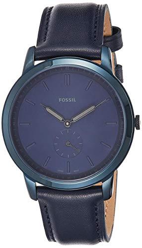 フォッシル 腕時計 メンズ Fossil Men's The The Minimalist - Mono Stainless Steel Analog-Quartz Watch with Leather Calfskin Strap, Blue, 20 (Model: FS5448)フォッシル 腕時計 メンズ