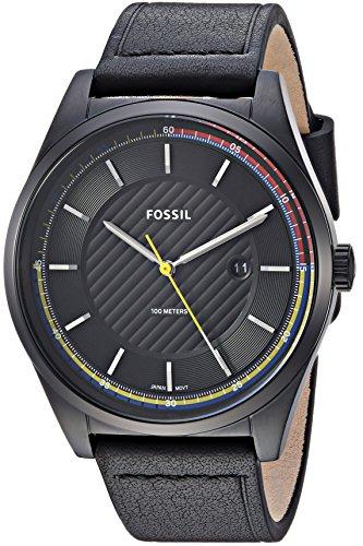 フォッシル 腕時計 メンズ Fossil Men's Mathis Stainless Steel Quartz Watch with Leather Calfskin Strap, Black, 21.35 (Model: FS5423)フォッシル 腕時計 メンズ
