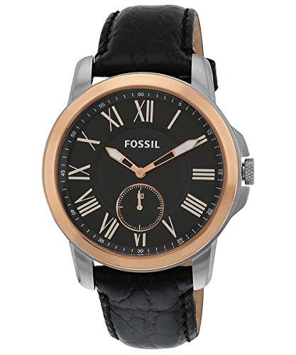 腕時計 フォッシル メンズ 【送料無料】Fossil Men's FS4943 Grant Slim Stainless Steel Watch with Black Leather Band腕時計 フォッシル メンズ