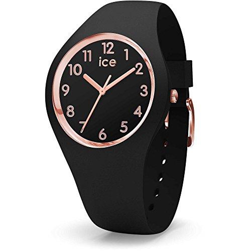 アイスウォッチ 腕時計 レディース かわいい Ice-Watch ICE GLAM Medium Black Silicone Band Rose Gold Women's Watch 015340アイスウォッチ 腕時計 レディース かわいい