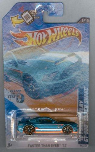 ホットウィール マテル ミニカー ホットウイール Hot Wheels 2012-095 Faster Than Ever 5/10 '10 Ford Shelby GT-500 Super Snake BLUE-Green 1:64 Scale SCAN & TRACK Cardホットウィール マテル ミニカー ホットウイール