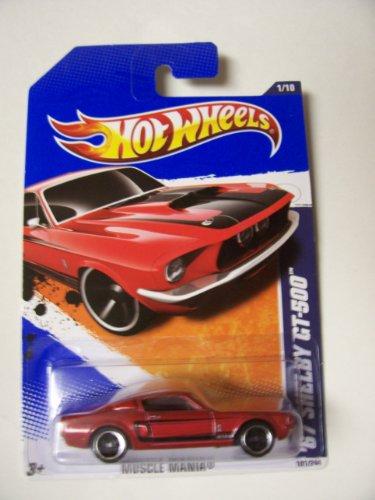 ホットウィール マテル ミニカー ホットウイール 【送料無料】Hot Wheels 2011 Muscle Mania 1/10 '67 Shelby GT-500 101/244 Red with Black Stripeホットウィール マテル ミニカー ホットウイール