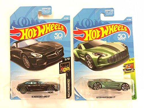 ホットウィール マテル ミニカー ホットウイール HW 2 vehicle bundle HOT Wheels NIGHTBURNERZ 5/10, 黒 '15 Mercedes AMG GT 142/365 & Bonus: Hot Wheels 2018 Aston Martin One-77ホットウィール マテル ミニカー ホットウイール