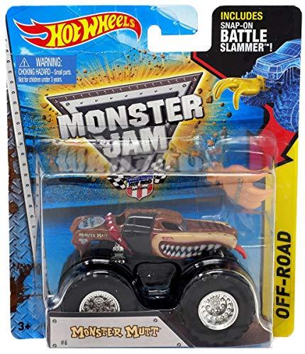 ホットウィール マテル ミニカー ホットウイール 【送料無料】Hot Wheels Monster Mutt #6 (Red Collar) 2015 Monster Jam 1:64 Scale Off Road Truck with Snap-On Battle Slammerホットウィール マテル ミニカー ホットウイール