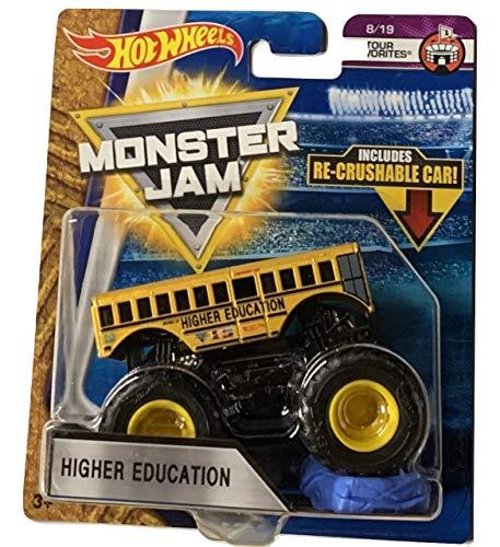 ホットウィール マテル ミニカー ホットウイール 【送料無料】Hot Wheels Monster Jam 2018 Tour Favorites Higher Education (School Bus) With Re-Crushable Car 1:64 Scaleホットウィール マテル ミニカー ホットウイール