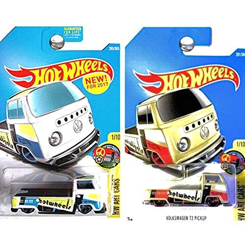 ホットウィール マテル ミニカー ホットウイール 【送料無料】Hot Wheels 2017 HW Art Cars Volkswagen T2 Pickup Truck Tan and White Set of 2ホットウィール マテル ミニカー ホットウイール