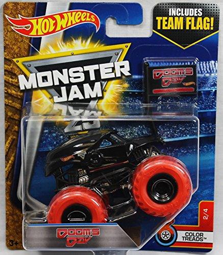 ホットウィール マテル ミニカー ホットウイール 【送料無料】Hot Wheels 2017 Monster Jam 1:64 Scale with Team Flag - Dooms Day 2/4 color treadsホットウィール マテル ミニカー ホットウイール