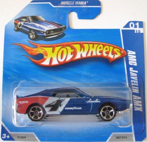 ホットウィール マテル ミニカー ホットウイール AMC JAVELIN AMX (Blue '4') * 2010 Hot Wheels #087/214, Muscle Mania #01/10, 1:64-scale car on SHORT CARDホットウィール マテル ミニカー ホットウイール