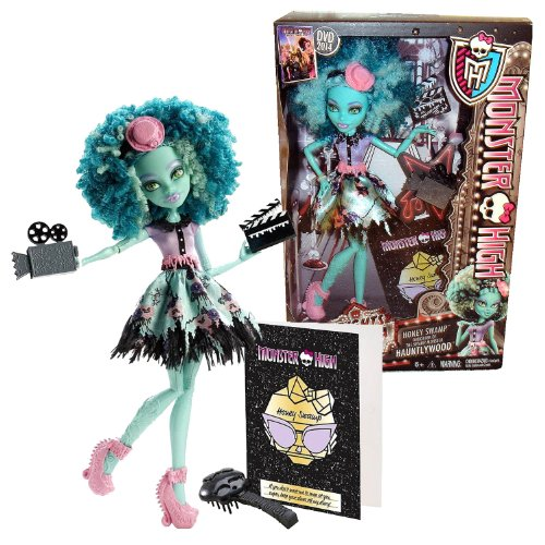 モンスターハイ 人形 ドール 【送料無料】Monster High Mattel Year 2013 Frights, Camera, Action! Hauntlywood Series 11 Inch Doll Set - Honey Swamp Daughter of The Swamp Monster with Video Camera, Action Board, Hairbrush モンスターハイ 人形 ドール