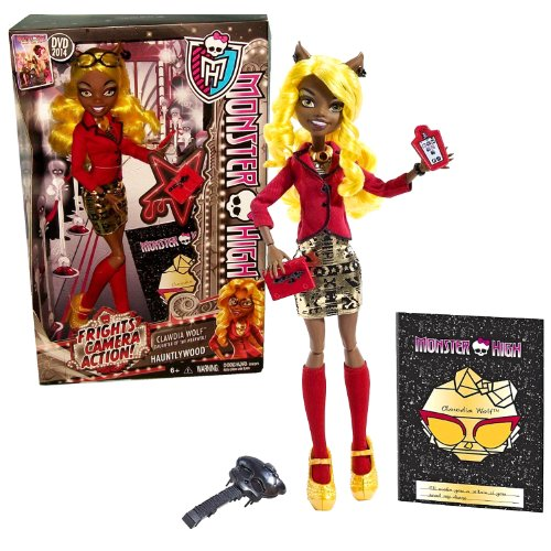 モンスターハイ 人形 ドール 【送料無料】Monster High Mattel Year 2013 Frights, Camera, Action! Hauntlywood Series 11 Inch Doll Set - CLAWDIA Wolf Daughter of The Werewolf with Glasses, Tablet, Stylus, Red Book, Hairbruモンスターハイ 人形 ドール