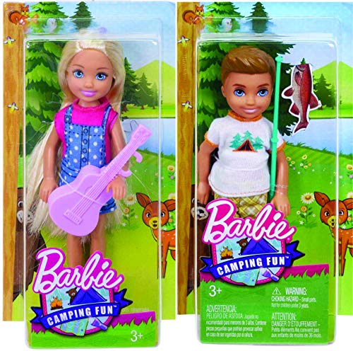 バービー バービー人形 チェルシー スキッパー ステイシー 【送料無料】Barbie Camping Fun - Chelsea w/Ukulele and Boy w/Fishing Pole Bundleバービー バービー人形 チェルシー スキッパー ステイシー