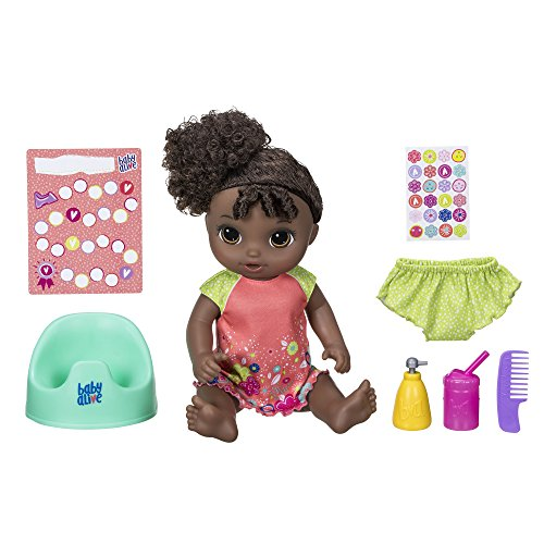 "ベビーアライブ 赤ちゃん おままごと ベビー人形 Baby Alive Potty Dance Baby: Talking Baby Doll with Black Curly Hair, Potty, Rewards Chart, Undies and More, Doll That ""Pees"" on Her Potty, for Girls and ベビーアライブ 赤ちゃん おままごと ベビー人形"