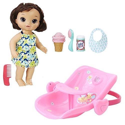 ベビーアライブ 赤ちゃん おままごと ベビー人形 Baby Alive Bundle: Magical Scoops Baby (Brunette) with 2-in-1 Car Seat/Feeding Chairベビーアライブ 赤ちゃん おままごと ベビー人形
