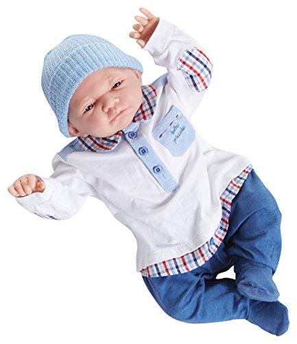 ジェーシートイズ 赤ちゃん おままごと ベビー人形 JC Toys Doll with Tutto Piccolo Blue White Denim Outfit, 20