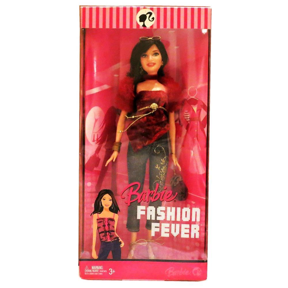 バービー バービー人形 日本未発売 Mattel Year 2007 Barbie Fashion Fever Series 12 Inch Tall Doll Set - Glamorous, Trendy and Popular RAQUELLE (L3332) in Red Velvet Top with Faux Fur Sleeve Plus Bangles, Earrings, High バービー バービー人形 日本未発売