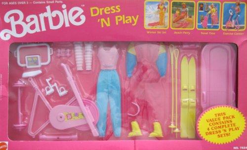 バービー バービー人形 着せ替え 衣装 ドレス 【送料無料】Barbie Vintage DRESS 'n PLAY VALUE PACK w Complete WINTER SKI SET & EXERCISE CENTER (1990 Arco Toys, Mattel)バービー バービー人形 着せ替え 衣装 ドレス