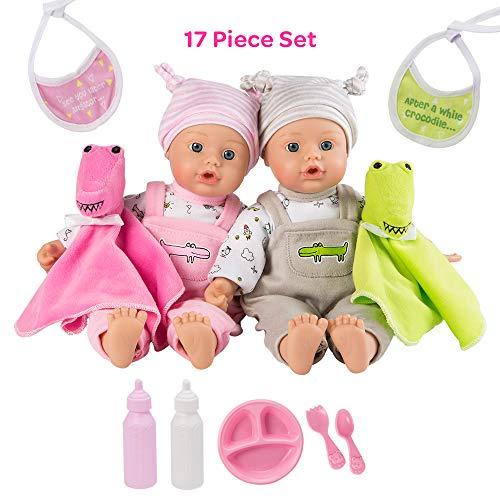 アドラベビードール 赤ちゃん リアル 本物そっくり おままごと Adora Twin Baby Dolls, Later Alligator Twins Gift Set, 11 inch Soft Baby Dolls in Vinyl, 15 Pieces of Doll Accessories, Perfect Giftアドラベビードール 赤ちゃん リアル 本物そっくり おままごと
