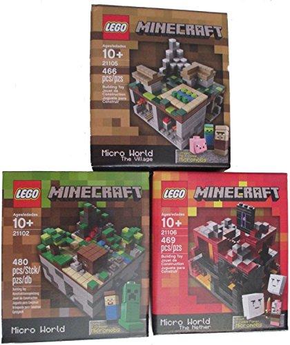 レゴ マインクラフト Minecraft Lego Collectible 3 Piece Set - (The Original) Minecraft 21102, the Village 21105, the Nether 21106. (Recommended Age 10-15 Yrs)レゴ マインクラフト