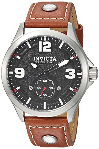 インヴィクタ インビクタ 腕時計 メンズ 【送料無料】Invicta Men's Aviator Stainless Steel Quartz Watch with Leather Calfskin Strap, Brown, 21 (Model: 22528)インヴィクタ インビクタ 腕時計 メンズ
