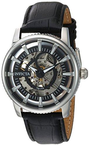 インヴィクタ インビクタ 腕時計 メンズ 【送料無料】Invicta Men's Objet d'Art Stainless Steel Automatic-self-Wind Watch with Leather-Calfskin Strap, Black, 22 (Model: 22641)インヴィクタ インビクタ 腕時計 メンズ
