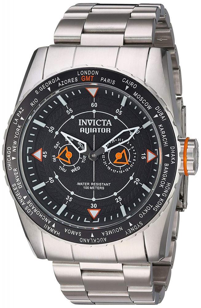 インヴィクタ インビクタ 腕時計 メンズ Invicta Men's Aviator Quartz Watch with Stainless-Steel Strap, Silver, 28 (Model: 22984)インヴィクタ インビクタ 腕時計 メンズ