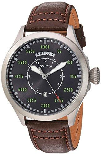 インヴィクタ インビクタ 腕時計 メンズ 【送料無料】Invicta Men's Aviator Stainless Steel Quartz Watch with Leather Calfskin Strap, Brown, 22 (Model: 22973)インヴィクタ インビクタ 腕時計 メンズ