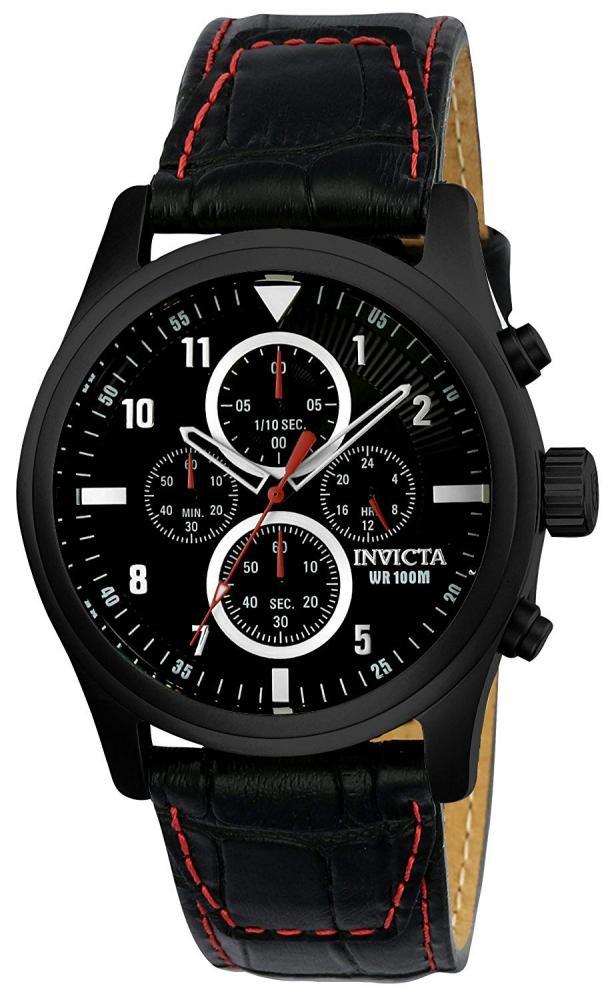 インヴィクタ インビクタ 腕時計 メンズ Invicta Men's Aviator Stainless Steel Quartz Watch with Leather Calfskin Strap, Black, 24 (Model: 22978インヴィクタ インビクタ 腕時計 メンズ