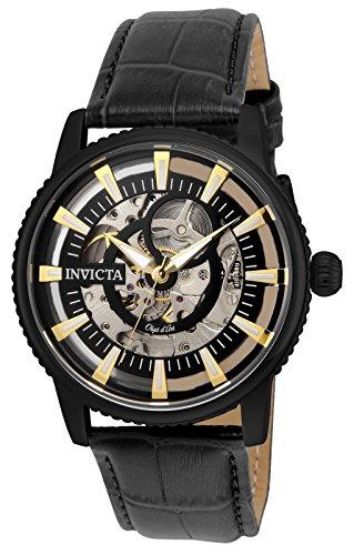 インヴィクタ インビクタ 腕時計 メンズ 【送料無料】Invicta Men's Objet d'Art Stainless Steel Automatic-self-Wind Watch with Leather-Calfskin Strap, Black, 22 (Model: 22645)インヴィクタ インビクタ 腕時計 メンズ