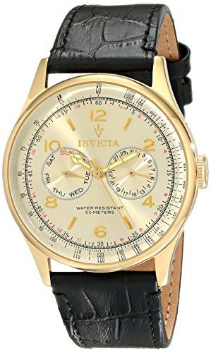 インヴィクタ インビクタ 腕時計 メンズ Invicta Men's 6750 Vintage Light Gold Tone Dial Black Leather Watchインヴィクタ インビクタ 腕時計 メンズ