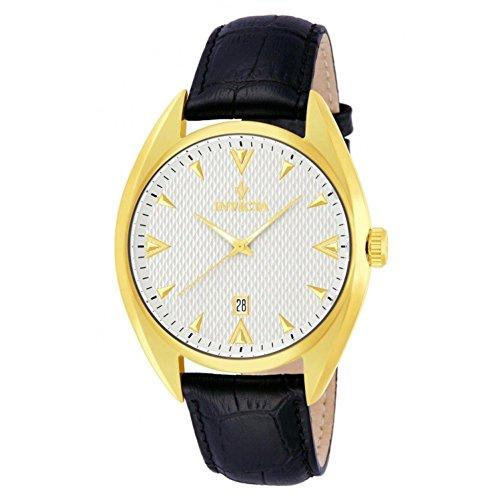 インヴィクタ インビクタ 腕時計 メンズ 【送料無料】Invicta 12211 Mens Vintage Gold Tone Stainless Steel Case Leather Bracelet Silver Dial Date Display Watchインヴィクタ インビクタ 腕時計 メンズ