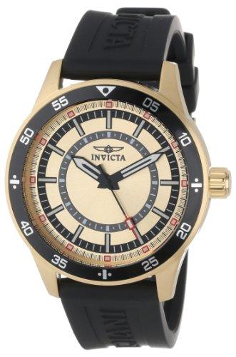 インヴィクタ インビクタ 腕時計 メンズ 【送料無料】Invicta Men's 14334 Specialty Gold Dial Black Polyurethane Watchインヴィクタ インビクタ 腕時計 メンズ