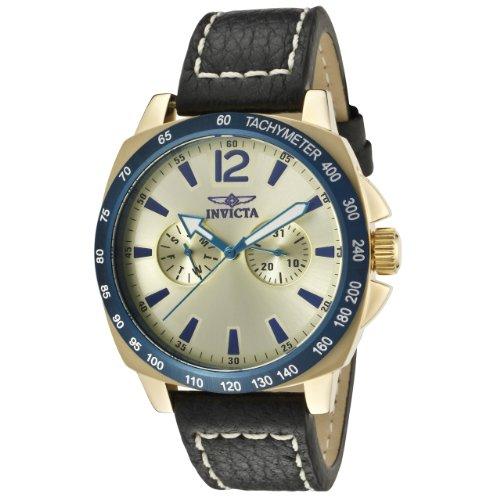 インヴィクタ インビクタ 腕時計 メンズ 【送料無料】Invicta Men's 10294 Specialty Gold Tone Dial Black Leather Watchインヴィクタ インビクタ 腕時計 メンズ