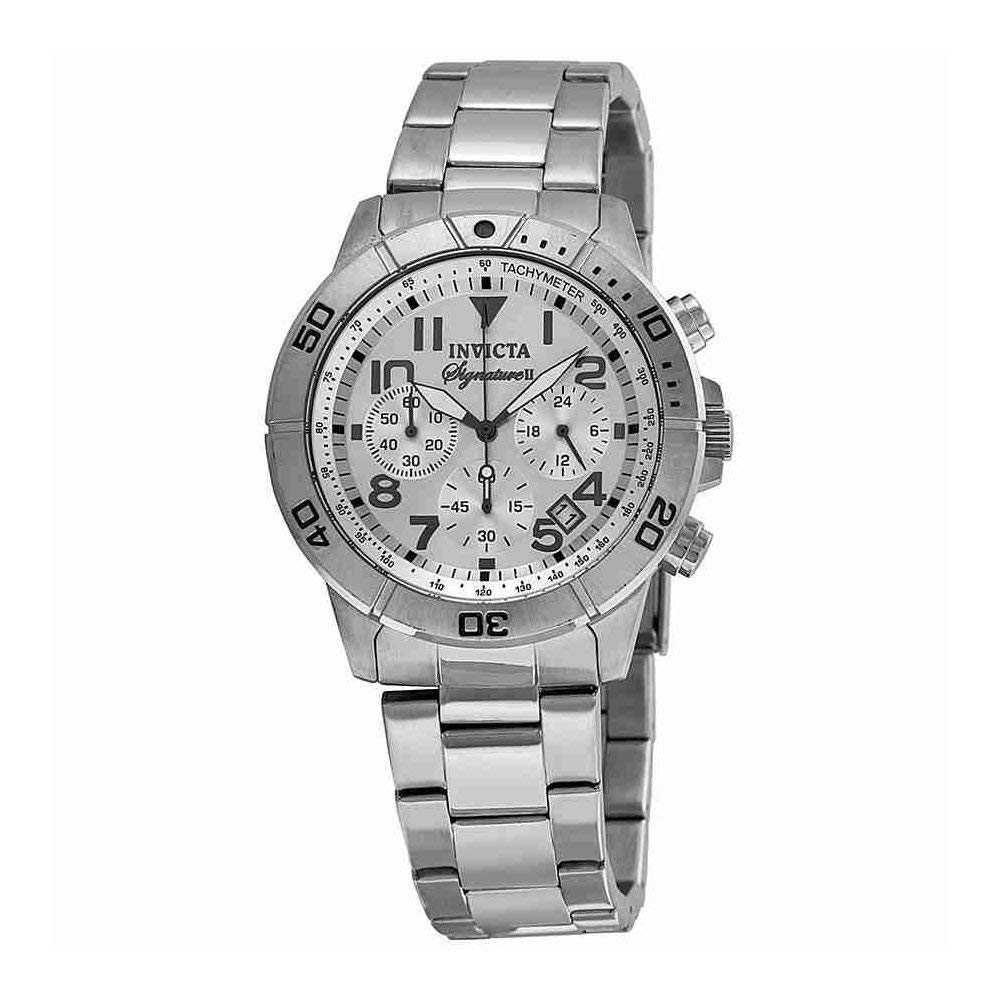 インヴィクタ インビクタ 腕時計 メンズ Invicta Signature II Chronograph Tachymeter Silver Dial Mens Watch 7350インヴィクタ インビクタ 腕時計 メンズ