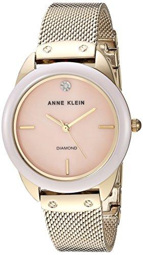 腕時計 アンクライン レディース 【送料無料】Anne Klein Women's Diamond Dial Mesh Bracelet Watch with Ceramic Bezel, AK/3258LPGB腕時計 アンクライン レディース