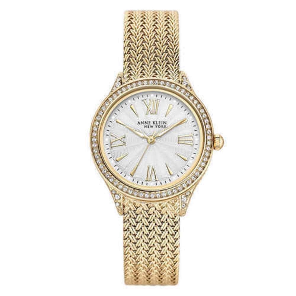 アンクライン 腕時計 レディース Anne Klein 12/2290SVGB Women's Swarovski Crystal Gold Tone Mesh Band Watchアンクライン 腕時計 レディース