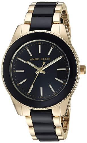 アンクライン 腕時計 レディース Anne Klein Women's AK/3214BKGB Gold-Tone and Black Resin Bracelet Watchアンクライン 腕時計 レディース