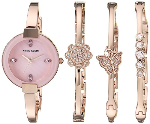 アンクライン 腕時計 レディース Anne Klein Women's AK/3262RGST Light Purple Swarovski Crystal Accented Rose Gold-Tone Watch and Bangle Setアンクライン 腕時計 レディース