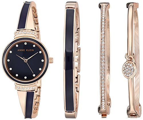 アンクライン 腕時計 レディース 【送料無料】Anne Klein Women's AK/2716RNST Swarovski Crystal Accented Rose Gold-Tone and Navy Blue Watch and Bangle Setアンクライン 腕時計 レディース
