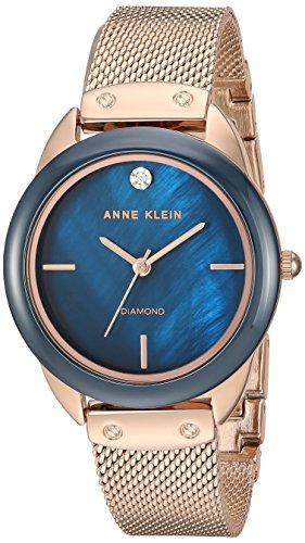 アンクライン 腕時計 レディース 【送料無料】Anne Klein Women's AK/3258NVRG Diamond-Accented Mesh Bracelet Watch with Ceramic Bezelアンクライン 腕時計 レディース