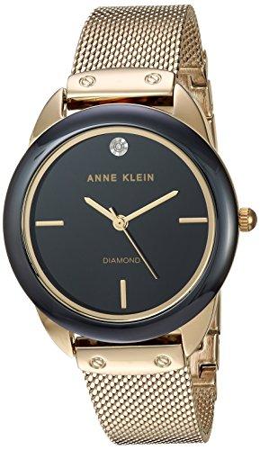 アンクライン 腕時計 レディース 【送料無料】Anne Klein Women's AK/3258BKGB Diamond-Accented Mesh Bracelet Watch with Ceramic Bezelアンクライン 腕時計 レディース