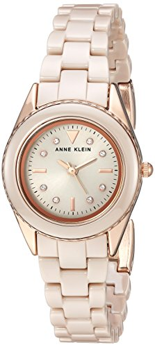 アンクライン 腕時計 レディース Anne Klein Women's AK/3164TNRG Swarovski Crystal Accented Rose Gold-Tone and Tan Ceramic Bracelet Watchアンクライン 腕時計 レディース