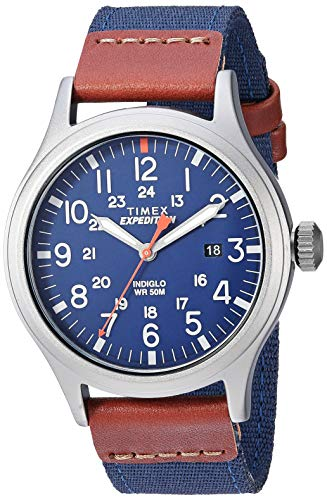タイメックス 腕時計 メンズ 【送料無料】Timex Men's TW4B14100 Expedition Scout 40mm Blue/Brown/Gray Leather/Nylon Strap Watchタイメックス 腕時計 メンズ