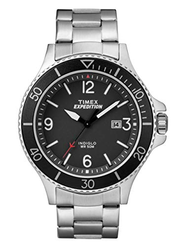 TW4B10900腕時計 Steel Ranger Black 【送料無料】Timex 腕時計 タイメックス Men's Stainless Dial メンズ メンズ a Watch Expedition with タイメックス Bracelet