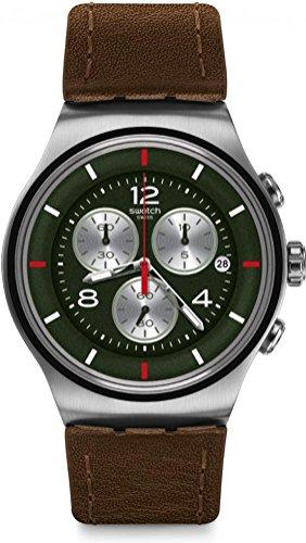 スウォッチ 腕時計 メンズ Swatch Men's Bamboo Speed YOS457 Silver Leather Swiss Quartz Fashion Watchスウォッチ 腕時計 メンズ