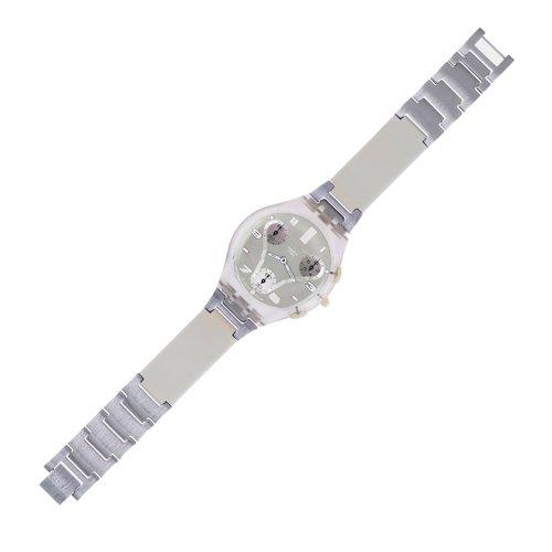 スウォッチ 腕時計 メンズ Swatch Cream Leather Band/green Face Natural Iron Unisex Watch Suyk104gスウォッチ 腕時計 メンズ