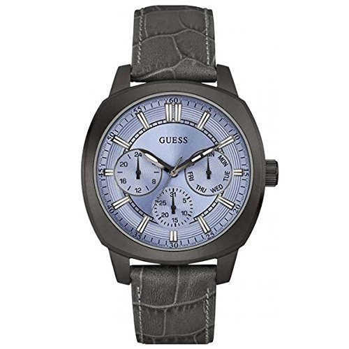 ゲス GUESS 腕時計 メンズ 【送料無料】Guess Men's Prime 43mm Grey Leather Band IP Steel Case Quartz Blue Dial Analog Watch W0660G2ゲス GUESS 腕時計 メンズ