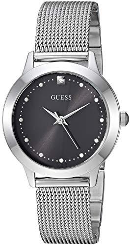 ゲス GUESS 腕時計 レディース 【送料無料】GUESS Stainless Steel Mesh Bracelet Watch with Black Genuine Diamond Dial. Color: Silver-Tone (Model: U1197L1)ゲス GUESS 腕時計 レディース
